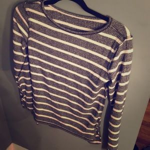 Grey white striped comfy long sleeve , never worn